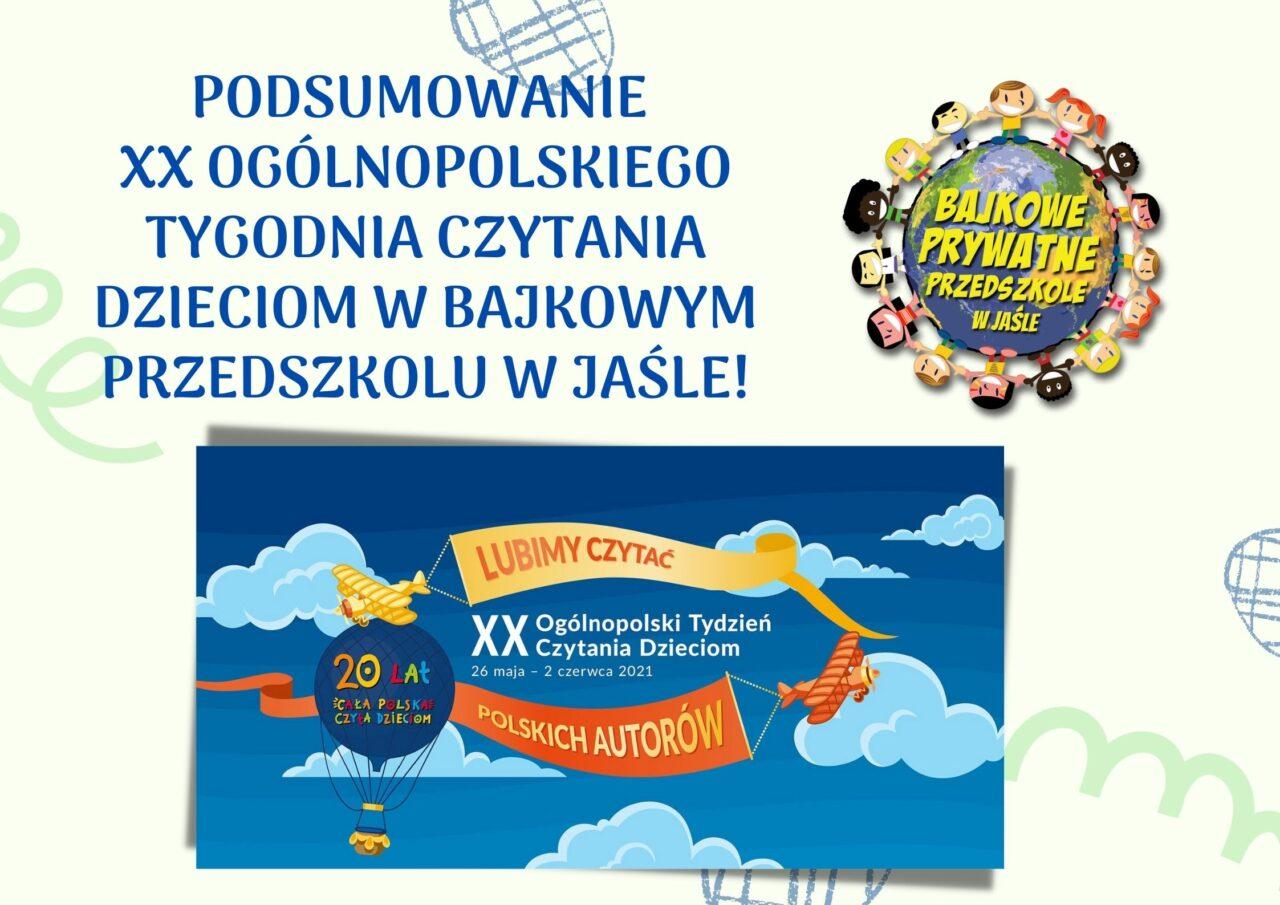 XX Ogólnopolski Tydzień Czytania Dzieciom w Bajkowym Przedszkolu w Jaśle!