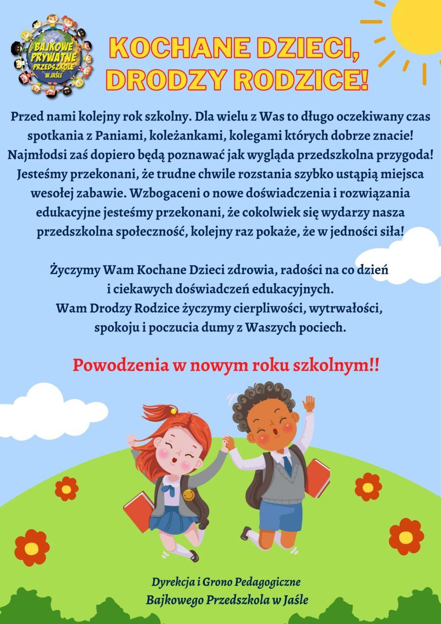 Kochane Dzieci, Drodzy Rodzice!